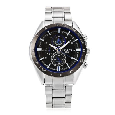KALBOR 5240 Business Decorative Sub-dial Men Quartz WatchMens Watches<br>KALBOR 5240 Business Decorative Sub-dial Men Quartz Watch<br><br>Band material: Stainless Steel<br>Band size: 22 x 2 cm / 8.66 x 0.79 inches<br>Case material: Stainless Steel<br>Clasp type: Folding clasp with safety<br>Dial size: 4.2 x 4.2 x 1.4 cm / 1.65 x 1.65 x 0.55 inches<br>Display type: Analog<br>Movement type: Quartz watch<br>Package Contents: 1 x KALBOR 5240 Business Men Quartz Watch<br>Package size (L x W x H): 12.00 x 5.20 x 2.40 cm / 4.72 x 2.05 x 0.94 inches<br>Package weight: 0.140 kg<br>Product size (L x W x H): 22.00 x 4.20 x 1.40 cm / 8.66 x 1.65 x 0.55 inches<br>Product weight: 0.106 kg<br>Shape of the dial: Round<br>Special features: Decorative sub-dial<br>Watch color: Blue + White, Blue + Black, Red + White, Red + Black<br>Watch style: Business<br>Watches categories: Male table<br>Water resistance : Life water resistant