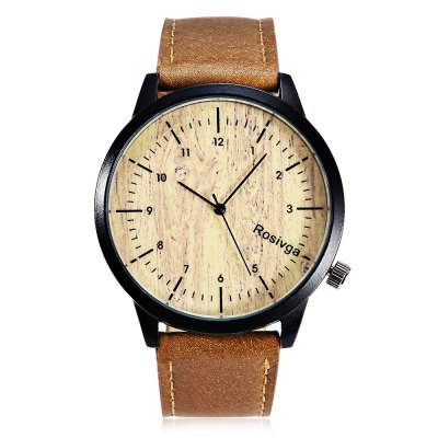 Rosivga 1244 Wood Texture Pattern Dial Unisex Quartz WatchUnisex Watches<br>Rosivga 1244 Wood Texture Pattern Dial Unisex Quartz Watch<br><br>People: Female table,Male table<br>Watch style: Casual<br>Available color: Black,Coffee<br>Shape of the dial: Round<br>Movement type: Quartz watch<br>Display type: Analog<br>Case material: Alloys<br>Band material: Leather<br>Clasp type: Pin buckle<br>Dial size: 4.4 x 4.4 x 0.8 cm / 1.73 x 1.73 x 0.31 inches<br>Band size: 24.6 x 2.2 cm / 9.69 x 0.87 inches<br>Wearable length: 18.2 - 22.4 cm / 7.17 - 8.82 inches<br>Product weight: 0.038 kg<br>Package weight: 0.104 kg<br>Product size (L x W x H): 24.60 x 4.40 x 0.80 cm / 9.69 x 1.73 x 0.31 inches<br>Package size (L x W x H): 8.50 x 8.00 x 5.00 cm / 3.35 x 3.15 x 1.97 inches<br>Package Contents: 1 x Rosivga 1244 Unisex Quartz Watch, 1 x Box