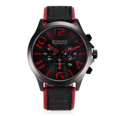 CURREN 8244 Casual Men Quartz WatchMens Watches<br>CURREN 8244 Casual Men Quartz Watch<br><br>Band material: Leather<br>Band size: 27 x 2.4 cm / 10.63 x 0.94 inches<br>Brand: Curren<br>Case material: Alloy<br>Clasp type: Pin buckle<br>Dial size: 4.8 x 4.8 x1.2 cm / 1.89 x 1.89 x 0.47 inches<br>Display type: Analog<br>Movement type: Quartz watch<br>Package Contents: 1 x CURREN 8244 Casual Men Quartz Watch, 1 x Box<br>Package size (L x W x H): 11.30 x 8.30 x 6.80 cm / 4.45 x 3.27 x 2.68 inches<br>Package weight: 0.208 kg<br>Product size (L x W x H): 27.00 x 4.80 x 1.20 cm / 10.63 x 1.89 x 0.47 inches<br>Product weight: 0.078 kg<br>Shape of the dial: Round<br>Special features: Date, Working sub-dial<br>Watch color: Coffee + White, Black + Red, Beige + Coffee, Black + Coffee<br>Watch style: Casual<br>Watches categories: Male table<br>Water resistance : Life water resistant<br>Wearable length: 19.8 - 24.7 cm / 7.80 - 9.72 inches