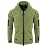 Tactical Style Zipper Front Fleeces Hooded Jacket