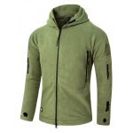 cheap Tactical Style Zipper Front Fleeces Hooded Jacket