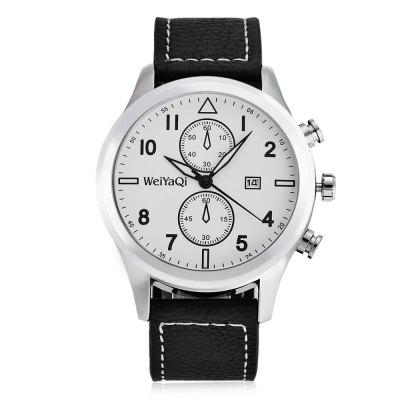 WeiYaQi 89018 Casual Men Quartz WatchMens Watches<br>WeiYaQi 89018 Casual Men Quartz Watch<br><br>Brand: Weiyaqi<br>Watches categories: Male table<br>Watch style: Casual<br>Watch color: Brown + White, Black + White, Brown + Gray, Black, Black + Brown<br>Movement type: Quartz watch<br>Shape of the dial: Round<br>Display type: Analog<br>Case material: Stainless Steel<br>Band material: Leather<br>Clasp type: Pin buckle<br>Special features: Date,Decorative sub-dial<br>Water resistance : Life water resistant<br>Dial size: 4.4 x 4.4 x 1.3 cm / 1.73 x 1.73 x 0.51 inches<br>Band size: 26.4 x 2.2 cm / 10.39 x 0.87 inches<br>Wearable length: 19.2 - 23.6 cm / 7.56 - 9.29 inches<br>Product weight: 0.062 kg<br>Package weight: 0.155 kg<br>Product size (L x W x H): 26.40 x 4.40 x 1.30 cm / 10.39 x 1.73 x 0.51 inches<br>Package size (L x W x H): 9.00 x 9.00 x 6.00 cm / 3.54 x 3.54 x 2.36 inches<br>Package Contents: 1 x WeiYaQi 89018 Casual Men Quartz Watch, 1 x Box