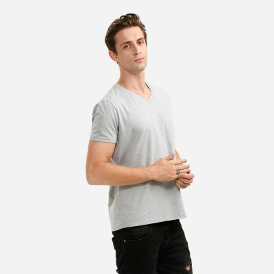 ZANSTYLE Men V Neck Light Gray T Shirt