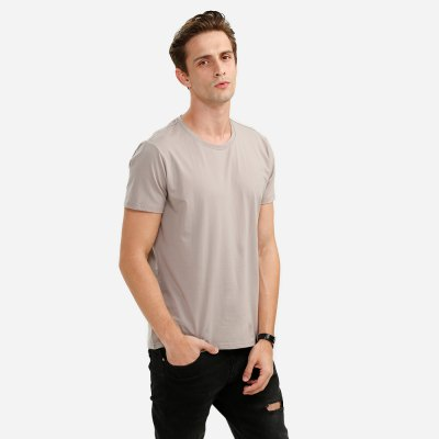 ZANSTYLE Men Crew Neck Light Coffee T Shirt