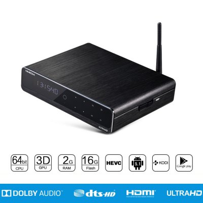 Himedia Q10 Pro TV Box Hi3798C V200 Quad CoreMedia Player<br>Himedia Q10 Pro TV Box Hi3798C V200 Quad Core<br><br>5G WiFi: No<br>Antenna: Yes<br>Audio format: MPEG, M4A, AAC<br>Bluetooth: Bluetooth4.0<br>Brand: Himedia<br>Camera: Without<br>Color: Black<br>Core: Quad Core<br>CPU: Hi3798C V200<br>Decoder Format: HD MPEG4, H.265, H.264, H.263<br>DVD Support: Yes<br>External Subtitle Supported: Yes<br>GPU: ARM Mali-720<br>HDMI Function: Arc<br>HDMI Version: 2.0<br>Interface: SD Card Slot, DC Power Port, USB3.0, RJ45, HDMI, USB2.0, AV<br>Language: Multi-language<br>Maximum External Hard Drives Capacity: 32GB<br>Model: Q10 Pro<br>Other Functions: DVD, External Subtitle<br>Package Contents: 1 x Himedia Q10 Pro TV Box, 1 x Remote Control, 1 x HDMI Cable, 1 x Power Adapter, 1 x English Manual<br>Package size (L x W x H): 33.00 x 26.00 x 8.50 cm / 12.99 x 10.24 x 3.35 inches<br>Package weight: 1.5200 kg<br>Power Comsumption: 24W<br>Power Input Vol: 12V<br>Power Supply: Charge Adapter<br>Power Type: External Power Adapter Mode<br>Product size (L x W x H): 23.00 x 18.00 x 5.00 cm / 9.06 x 7.09 x 1.97 inches<br>Product weight: 0.9200 kg<br>RAM: 2G RAM<br>RAM Type: DDR3<br>Remote Controller Battery: AAA<br>RJ45 Port Speed: 1000M<br>ROM: 16G ROM<br>Support 5.1 Surround Sound Output: Yes<br>System: Android 5.1.1<br>System Bit: 64Bit<br>TV Box Features: Antenna,5.1 Surround Sound Output<br>Type: TV Box<br>Video format: RMVB, RM<br>WiFi Chip: RTL8192