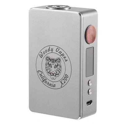 Original Woody Vapes X200 TC Box Mod with 7 - 200WTemperature Control Mods<br>Original Woody Vapes X200 TC Box Mod with 7 - 200W<br><br>Accessories type: MOD<br>APV Mod Wattage: 200w<br>APV Mod Wattage Range: 151-200W<br>Battery Cover Type: Magnetic<br>Battery Form Factor: 18650<br>Battery Quantity: 2pcs ( not included )<br>Brand: Woodyvapes<br>Material: Wood, Zinc Alloy<br>Mod: Temperature Control Mod,VV/VW Mod<br>Model: X200<br>Package Contents: 1 x Woodyvapes X200 TC 200W Box Mod, 1 x English User Manual, 1 x USB Cable<br>Package size (L x W x H): 9.60 x 12.50 x 3.50 cm / 3.78 x 4.92 x 1.38 inches<br>Package weight: 0.2890 kg<br>Product size (L x W x H): 5.70 x 2.80 x 9.70 cm / 2.24 x 1.1 x 3.82 inches<br>Product weight: 0.1780 kg<br>Temperature Control Range: 200 - 600 Deg.F / 100 - 315 Deg. C<br>Type: Electronic Cigarettes Accessories