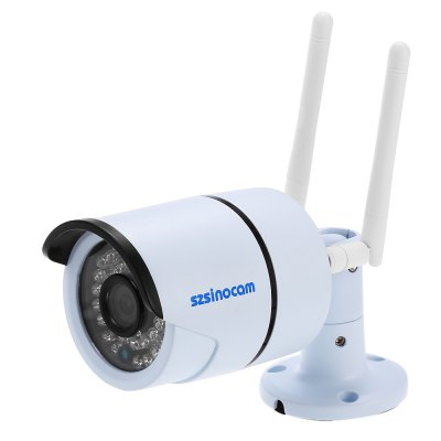 Szsinocam SZ - IPC - 7032CSW 2.0MP WiFi IP CameraIP Cameras<br>Szsinocam SZ - IPC - 7032CSW 2.0MP WiFi IP Camera<br><br>Alarm Notice: Email Photo<br>Backlight Compensation: No<br>Brand: Szsinocam<br>Color: White<br>Compatible Operation Systems: Windows 10,Windows 7,Windows 8<br>Electronic Shutter: 1/25s - 1/30,000s<br>Environment: Indoor<br>FOV: 72 degree<br>Image Adjustment: Brightness,Color saturation,Contrast,Hue<br>Infrared Distance: 25m<br>Infrared LED: 36pcs 5mm LEDs<br>IP camera performance: Screenshot, Real-time video capture and recording, Night Vision, Motion Detection<br>IP Mode : static IP address, Dynamic IP address<br>Language: Chinese,English,Portuguese,Russian<br>Maximum Monitoring Range: 20M<br>Minimum Illumination: 0.01 Lux<br>Mobile Access: Android,IOS<br>Model: SZ - IPC - 7032CSW<br>Motion Detection Distance: 30m<br>Mount Types: Wall bracket<br>Network Port: RJ-45<br>Operate Temperature (?): -20 - 50 Celsius degree<br>Operating system: Microsoft Windows 2000,Microsoft Windows 7,Microsoft Windows 8,Microsoft Windows 98,Microsoft Windows Vista,Microsoft Windows XP<br>Package Contents: 1 x IP Camera, 1 x English User Manual, 1 x Power Cord, 1 x CD, 3 x Screw, 3 x Screw Cap, 1 x Screw Driver, 2 x Antenna<br>Package size (L x W x H): 20.00 x 10.00 x 11.00 cm / 7.87 x 3.94 x 4.33 inches<br>Package weight: 0.598 kg<br>Pixels: 2MP<br>Product size (L x W x H): 6.50 x 6.50 x 18.00 cm / 2.56 x 2.56 x 7.09 inches<br>Product weight: 0.348 kg<br>Protocol: DDNS,DHCP,DNS,FTP,HTTP,HTTPS,ICMP,IP,NTP,P2P,PPPOE,RTCP,RTP,RTSP,SMTP,SNMP,TCP,UPNP<br>Resolution: 1920 ? 1080<br>Sensor: CMOS<br>Sensor size (inch): 1/3<br>Shape: Bullet Camera<br>Technical Feature: Waterproof, Infrared<br>Video Compression Format: H.264<br>Video format: AVI<br>Video Standard: NTSC,PAL<br>Waterproof: IP66<br>Web Browser: IE,Microsoft Internet Explorer 6.0 above<br>White Balance: No<br>WiFi Distance : 40m no obstacles<br>Wireless: WiFi 802.11 b/g/n<br>Working Voltage: DC12V / 1A