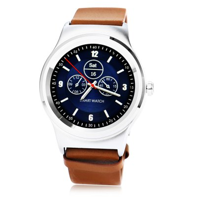 SMA - R Dual Bluetooth Smart WatchSmart Watches<br>SMA - R Dual Bluetooth Smart Watch<br><br>Alert type: Ring, Vibration<br>Available Color: Black,Brown<br>Band material: Genuine Leather<br>Band size: 20 x 2.2 cm / 7.87 x 0.87 inches<br>Battery  Capacity: 300mAh<br>Bluetooth calling: Answering,Call log sync,Dialing,Phone call reminder,Phonebook<br>Bluetooth Version: Bluetooth 3.0/4.0 Double Mode<br>Brand: SMA<br>Built-in chip type: MTK2502<br>Case material: Stainless Steel<br>Charging Time: About 2hours<br>Compatability: Android 4.4 / iOS 8.0 and above system<br>Compatible OS: Android, IOS<br>Dial size: 4.45 x 4.45 x 1.22 cm / 1.75 x 1.75 x 0.48 inches<br>Find phone: Yes<br>Groups of alarm: 5<br>Health tracker: Heart rate monitor,Pedometer,Sedentary reminder,Sleep monitor<br>IP rating: IP54<br>Language: Dutch,English,French,German,Italian,Polish,Portuguese,Russian,Spanish,Turkish<br>Locking screen : 6<br>Messaging: Message reminder<br>Notification: Yes<br>Notification type: WhatsApp, Facebook, G-mail, Twitter<br>Operating mode: Touch Screen<br>Other Function: Siri, Voice recorder, Calender, Calculator, Alarm<br>Package Contents: 1 x SMA - R Smart Band, 1 x English User Manual, 1 x Charging Cable<br>Package size (L x W x H): 9.90 x 9.90 x 7.20 cm / 3.9 x 3.9 x 2.83 inches<br>Package weight: 0.2120 kg<br>People: Female table,Male table<br>Product size (L x W x H): 20.00 x 4.45 x 1.22 cm / 7.87 x 1.75 x 0.48 inches<br>Product weight: 0.0700 kg<br>RAM: 128MB<br>Remote control function: Remote music, Remote Camera<br>ROM: 64MB<br>Screen: IPS<br>Screen resolution: 240 x 240<br>Screen size: 1.3 inch<br>Shape of the dial: Round<br>Standby time: About 5 Days<br>Type of battery: Polymer Battery<br>Waterproof: Yes