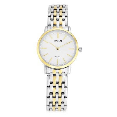 EYKI Fashion Lady Ultra-thin Thread Pattern Dial Quartz WatchWomens Watches<br>EYKI Fashion Lady Ultra-thin Thread Pattern Dial Quartz Watch<br><br>Available Color: Gold,Gold and Silver,Silver<br>Band material: Stainless Steel<br>Band size: 20 x 1.4 cm / 7.87 x 0.55 inches<br>Brand: Eyki<br>Case material: Stainless Steel<br>Clasp type: Folding clasp with safety<br>Dial size: 2.8 x 2.8 x 0.5 cm / 1.10 x 1.10 x 0.20 inches<br>Display type: Analog<br>Movement type: Quartz watch<br>Package Contents: 1 x EYKI Fashion Lady Quartz Watch, 1 x Box<br>Package size (L x W x H): 8.50 x 8.00 x 5.00 cm / 3.35 x 3.15 x 1.97 inches<br>Package weight: 0.119 kg<br>Product size (L x W x H): 20.00 x 2.80 x 0.50 cm / 7.87 x 1.1 x 0.2 inches<br>Product weight: 0.059 kg<br>Shape of the dial: Round<br>Watch style: Fashion<br>Watches categories: Female table