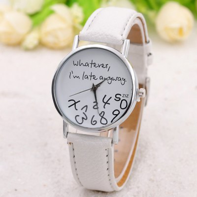 Whatever Dial Artificial Leather Watch