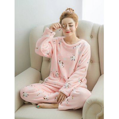 Cute Printed Warm Pocket Flannel Pullover Pajamas Suit