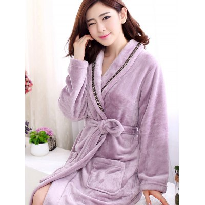 Soft Coral Velvet Long Robe Dressing Gown