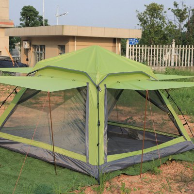 FLYTOP 4-person Camping TentTent<br>FLYTOP 4-person Camping Tent<br><br>Brand: FLYTOP<br>Color: Army green,Lake blue<br>Features: Breathable, Waterproof<br>Fits for: 3-4 People<br>Package Content: 1 x FLYTOP Tent, 2 x Pole, 4 x Rope,  4 x Peg<br>Package size: 60.00 x 13.00 x 13.00 cm / 23.62 x 5.12 x 5.12 inches<br>Package weight: 2.730 kg<br>Product size: 210.00 x 210.00 x 135.00 cm / 82.68 x 82.68 x 53.15 inches<br>Product weight: 2.600 kg<br>Seasons: Autumn,Spring,Summer<br>Tent Pole Diameter: 8.5mm<br>Type: Manual Tent