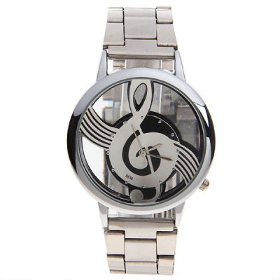 Music Note Dial Stainless Steel Watch