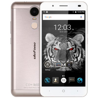 Ulefone Tiger 4G PhabletCell phones<br>Ulefone Tiger 4G Phablet<br><br>2G: GSM 850/900/1800/1900MHz<br>3G: WCDMA 900/2100MHz<br>4G: FDD-LTE 800/900/1800/2100/2600MHz<br>Additional Features: Fingerprint recognition, Fingerprint Unlocking, Calendar, Calculator, Browser, Bluetooth, Alarm, 4G, Gesture Sensing, GPS, Gravity Sensing, People, OTG, Off-screen gesture, MP4, MP3, Light Sensing, Wi-Fi, 3G<br>Back-camera: 8.0MP ( SW 13.0MP ) with flash light<br>Battery Capacity (mAh): 4200mAh Built-in<br>Battery Type: Lithium-ion Polymer Battery<br>Bluetooth Version: V4.0<br>Brand: Ulefone<br>Camera type: Dual cameras (one front one back)<br>Cell Phone: 1<br>Cores: Quad Core, 1.3GHz<br>CPU: MTK6737<br>E-book format: TXT<br>External Memory: TF card up to 128GB (not included)<br>Flashlight: Yes<br>FM radio: Yes<br>Front camera: 5.0MP ( SW 8.0MP )<br>Games: Android APK<br>I/O Interface: Micro USB Slot, TF/Micro SD Card Slot, Speaker, Micophone, 2 x Micro SIM Card Slot, 3.5mm Audio Out Port<br>Language: Indonesian, Malay, Catalan, Czech, Danish, German, Estonian, English, Spanish, Filipino, French, Croatian, Italian, Latvian, Lithuanian, Hungarian, Dutch, Norwegian, Polish, Portuguese, Romanian, Slo<br>Music format: AAC, MP3<br>Network type: FDD-LTE+WCDMA+GSM<br>OS: Android 6.0<br>OTG : Yes<br>Package size: 18.70 x 11.10 x 5.00 cm / 7.36 x 4.37 x 1.97 inches<br>Package weight: 0.394 kg<br>Picture format: BMP, GIF, JPEG, PNG<br>Power Adapter: 1<br>Product size: 15.58 x 7.78 x 0.94 cm / 6.13 x 3.06 x 0.37 inches<br>Product weight: 0.186 kg<br>RAM: 2GB RAM<br>ROM: 16GB<br>Screen resolution: 1280 x 720 (HD 720)<br>Screen size: 5.5inch<br>Screen type: Corning Gorilla Glass 3, Capacitive<br>Sensor: Ambient Light Sensor,Gravity Sensor,Hall Sensor<br>Service Provider: Unlocked<br>SIM Card Slot: Dual SIM, Dual Standby<br>SIM Card Type: Dual Micro SIM Card<br>Type: 4G Phablet<br>USB Cable: 1<br>User Manual: 1<br>Video format: MP4, 3GP<br>Video recording: Yes<br>WIFI: 802.11b/g/n wireless internet<br>Wireless Connectivity: Bluetooth 4.0, 4G, GPS, 3G, GSM, WiFi