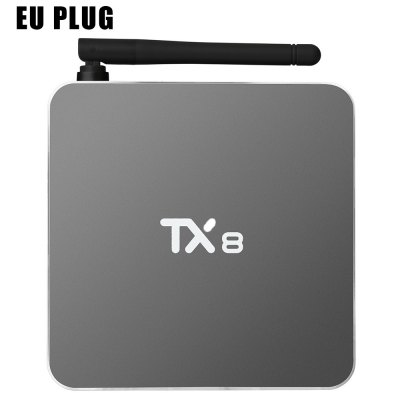 TX8 Android 6.0 TV BoxTV Box<br>TX8 Android 6.0 TV Box<br><br>5G WiFi: Yes<br>Audio format: M4A, AMR-NB, AC3, AAC, OGG, RM, FLAC, WMA, WAV, AMR-WB, MP3, APE, DTS<br>Bluetooth: Bluetooth4.0<br>Color: Silver<br>Core: 2.08GHz<br>CPU: Amlogic S912<br>Decoder Format: H.265, Xvid/DivX4/5/6, RealVideo8/9/10, HD AVC/VC-1, H.264<br>DVD Support: No<br>External Subtitle Supported: Yes<br>GPU: ARM Mali-T820MP3<br>HDMI Version: 2.0<br>Interface: AV, USB2.0, TF card, SPDIF, RJ45, HDMI, DC 5V<br>Language: Multi-language<br>Maximum External Hard Drives Capacity: 500GB<br>Model: TX8<br>Other Functions: Others, External Subtitle<br>Package Contents: 1 x TX8 TV Box, 1 x Remote Control, 1 x USB Cable, 1 x Power Adapter, 1 x English Manual<br>Package size (L x W x H): 15.50 x 13.70 x 8.00 cm / 6.1 x 5.39 x 3.15 inches<br>Package weight: 0.6200 kg<br>Photo Format: JPEG, PNG, JPG, GIF, BMP<br>Power Supply: Charge Adapter<br>Power Type: External Power Adapter Mode<br>Product size (L x W x H): 10.80 x 10.80 x 1.90 cm / 4.25 x 4.25 x 0.75 inches<br>Product weight: 0.5000 kg<br>RAM: 2G RAM<br>RAM Type: DDR3<br>ROM: 32G ROM<br>Support 5.1 Surround Sound Output: Yes<br>System: Android 6.0<br>System Bit: 64Bit<br>TV Box Features: 5.1 Surround Sound Output<br>Type: TV Box<br>Video format: VOB, 4K x 2K, RM, PMP, RMVB, MPEG4, MPEG2, MP4, M4V, FLV, WMV, AVI, DIVX