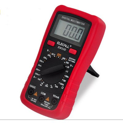 ELECALL EM33D Mini Digital LCD Display MultimeterMultimeters &amp; Fitting<br>ELECALL EM33D Mini Digital LCD Display Multimeter<br><br>AC Voltage: 200V / 600V<br>Backlit Display: Yes<br>Brand: ELECALL<br>Continuity Buzzer: Yes<br>Data Hold: Yes<br>DC Current: 200uA / 2mA / 20mA / 200mA / 10A<br>DC Voltage: 200mV / 2V / 20V / 200V / 600V<br>Diode Test: Yes<br>Max. Display: 1999 Count<br>Model: EM33D<br>Package Contents: 1 x EM33D Mini Digital Multimeter, 1 x Pen Probe ( Pair ), 1 x English User Manual<br>Package size (L x W x H): 16.00 x 12.00 x 5.00 cm / 6.3 x 4.72 x 1.97 inches<br>Package weight: 0.290 kg<br>Powered by: 1 x 9V battery<br>Product size (L x W x H): 13.80 x 6.80 x 3.00 cm / 5.43 x 2.68 x 1.18 inches<br>Product weight: 0.181 kg<br>Resistance : 200ohm / 2Kohm / 20kohm / 200Kohm / 2Mohm<br>Temperature: 0 - 40 Degrees Celsius