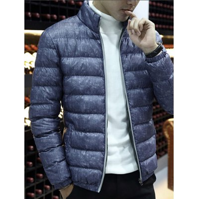 Zipper Front Stand-up Color Quilted Jacket