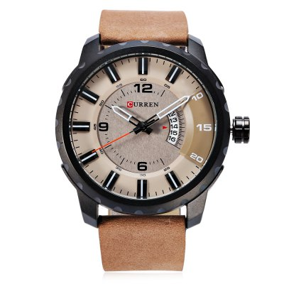 CURREN 8245 Casual Men Quartz WatchMens Watches<br>CURREN 8245 Casual Men Quartz Watch<br><br>Band material: Leather<br>Band size: 27 x 2.5 cm / 10.63 x 0.98 inches<br>Brand: Curren<br>Case material: Stainless Steel<br>Clasp type: Pin buckle<br>Dial size: 5 x 5 x 2 cm / 1.97 x 1.97 x 0.79 inches<br>Display type: Analog<br>Movement type: Quartz watch<br>Package Contents: 1 x CURREN 8245 Casual Men Quartz Watch, 1 x Box<br>Package size (L x W x H): 11.30 x 8.50 x 6.70 cm / 4.45 x 3.35 x 2.64 inches<br>Package weight: 0.236 kg<br>Product size (L x W x H): 27.00 x 5.00 x 2.00 cm / 10.63 x 1.97 x 0.79 inches<br>Product weight: 0.095 kg<br>Shape of the dial: Round<br>Special features: Date<br>Watch color: Black, Off-white, Gray, Brown<br>Watch style: Casual<br>Watches categories: Male table<br>Water resistance : Life water resistant<br>Wearable length: 19.8 - 24.8 cm / 7.80 - 9.76 inches