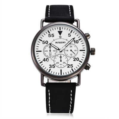 mingzan 6305 Casual Unisex Quartz WatchUnisex Watches<br>mingzan 6305 Casual Unisex Quartz Watch<br><br>Band material: Leather<br>Band size: 25.2 x 2 cm / 9.92 x 0.79 inches<br>Case material: Alloys<br>Clasp type: Pin buckle<br>Dial size: 4 x 4 x 0.8 cm / 1.57 x 1.57 x 0.31 inches<br>Display type: Analog<br>Movement type: Quartz watch<br>Package Contents: 1 x mingzan 6305 Casual Unisex Quartz Watch, 1 x Box<br>Package size (L x W x H): 8.50 x 8.00 x 5.00 cm / 3.35 x 3.15 x 1.97 inches<br>Package weight: 0.108 kg<br>People: Female table,Male table<br>Product size (L x W x H): 25.20 x 4.00 x 0.80 cm / 9.92 x 1.57 x 0.31 inches<br>Product weight: 0.039 kg<br>Shape of the dial: Round<br>Watch color: White, Black, White + Black, Coffee + Black<br>Watch style: Casual<br>Water resistance : Life water resistant<br>Wearable length: 18 - 22.8 cm / 7.09 - 8.98 inches