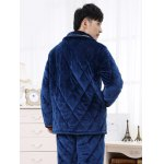 Elegant Diamond Button Front Flannel Padded Pajamas Suit deal