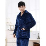 cheap Elegant Diamond Button Front Flannel Padded Pajamas Suit