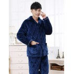 Elegant Diamond Button Front Flannel Padded Pajamas Suit