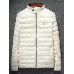 cheap PU Stand-up Collar Zipper Front Quilted Jacket