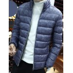 Zipper Front Stand-up Color Quilted Jacket deal