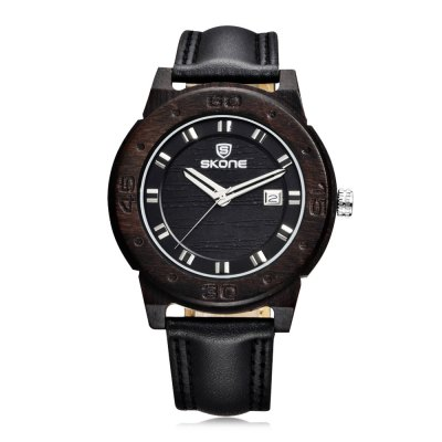 SKONE 1187 Fashion Date Display Wooden Men Quartz Watch