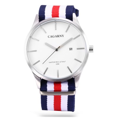 CAGARNY 6865 Quartz Watch for Men WomenUnisex Watches<br>CAGARNY 6865 Quartz Watch for Men Women<br><br>Brand: Cagaray<br>People: Female table,Male table<br>Watch style: Fashion<br>Shape of the dial: Round<br>Movement type: Quartz watch<br>Display type: Analog<br>Case material: Alloy<br>Band material: Nylon<br>Clasp type: Pin buckle<br>Water resistance : 30 meters<br>Special features: Date<br>Dial size: 4.5 x 4.5 x 0.8 cm / 1.77 x 1.77 x 0.31 inches<br>Band size: 25 x 2.2 cm / 9.84 x 0.87 inches<br>Wearable length: 16.5 - 22.5 cm / 6.5 - 8.86 inches<br>Product weight: 0.055 kg<br>Package weight: 0.152 kg<br>Product size (L x W x H): 25.00 x 4.50 x 0.80 cm / 9.84 x 1.77 x 0.31 inches<br>Package size (L x W x H): 7.60 x 10.20 x 7.50 cm / 2.99 x 4.02 x 2.95 inches<br>Package Contents: 1 x CAGARNY 6865 Unisex Quartz Watch, 1 x Box