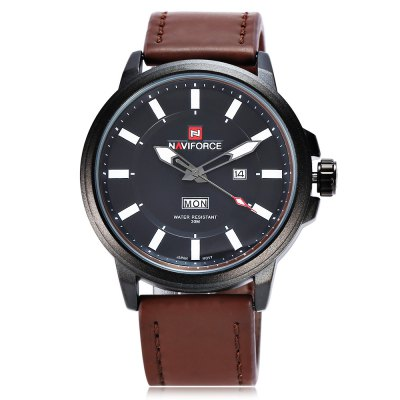 NAVIFORCE 9075 Casual Men Quartz WatchMens Watches<br>NAVIFORCE 9075 Casual Men Quartz Watch<br><br>Brand: Naviforce<br>Watches categories: Male table<br>Watch style: Casual<br>Watch color: Black, Brown, Black + Coffee, Black + Brown<br>Movement type: Quartz watch<br>Shape of the dial: Round<br>Display type: Analog<br>Case material: Alloy<br>Band material: Leather<br>Clasp type: Pin buckle<br>Water resistance : 30 meters<br>Dial size: 4.8 x 4.8 x 1.5 cm / 1.89 x 1.89 x 0.59 inches<br>Band size: 27 x 2.4 cm / 10.63 x 0.94 inches<br>Wearable length: 19.6 - 24.5 cm / 7.72 - 9.65 inches<br>Product weight: 0.083 kg<br>Package weight: 0.195 kg<br>Product size (L x W x H): 27.00 x 4.80 x 1.50 cm / 10.63 x 1.89 x 0.59 inches<br>Package size (L x W x H): 11.20 x 8.00 x 6.30 cm / 4.41 x 3.15 x 2.48 inches<br>Package Contents: 1 x NAVIFORCE 9075 Casual Men Quartz Watch, 1 x Box
