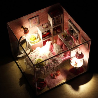 Wooden House Miniature Kit with LED Light