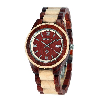 BEWELL ZS - W128AG Fashion Men Wooden Quartz Watch