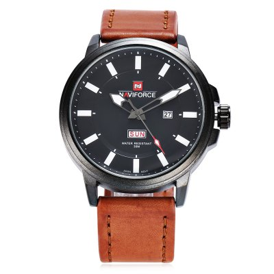 NAVIFORCE 9075 Casual Men Quartz WatchMens Watches<br>NAVIFORCE 9075 Casual Men Quartz Watch<br><br>Band material: Leather<br>Band size: 27 x 2.4 cm / 10.63 x 0.94 inches<br>Brand: Naviforce<br>Case material: Alloy<br>Clasp type: Pin buckle<br>Dial size: 4.8 x 4.8 x 1.5 cm / 1.89 x 1.89 x 0.59 inches<br>Display type: Analog<br>Movement type: Quartz watch<br>Package Contents: 1 x NAVIFORCE 9075 Casual Men Quartz Watch, 1 x Box<br>Package size (L x W x H): 11.20 x 8.00 x 6.30 cm / 4.41 x 3.15 x 2.48 inches<br>Package weight: 0.195 kg<br>Product size (L x W x H): 27.00 x 4.80 x 1.50 cm / 10.63 x 1.89 x 0.59 inches<br>Product weight: 0.083 kg<br>Shape of the dial: Round<br>Watch color: Black, Brown, Black + Coffee, Black + Brown<br>Watch style: Casual<br>Watches categories: Male table<br>Water resistance : 30 meters<br>Wearable length: 19.6 - 24.5 cm / 7.72 - 9.65 inches