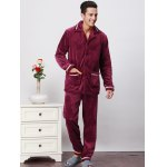 Button Front Warm Pocket Coral Velvet Two-piece Pajamas