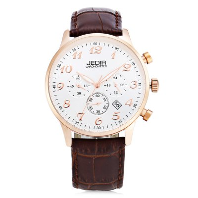 JEDIR 2022 Fashion Men Quartz WatchMens Watches<br>JEDIR 2022 Fashion Men Quartz Watch<br><br>Brand: JEDIR<br>Watches categories: Male table<br>Watch style: Fashion<br>Watch color: Black, Black + Brown, White + Brown<br>Movement type: Quartz watch<br>Shape of the dial: Round<br>Display type: Analog<br>Case material: Alloy<br>Band material: Genuine Leather<br>Clasp type: Pin buckle<br>Water resistance : Life water resistant<br>Dial size: 4.2 x 4.2 x 1.2 cm / 1.65 x 1.65 x 0.47 inches<br>Band size: 25.5 x 2.2 cm / 10.04 x 0.87 inches<br>Wearable length: 18.6 - 22.2 cm / 7.32 - 8.74 inches<br>Product weight: 0.058 kg<br>Package weight: 0.258 kg<br>Product size (L x W x H): 25.50 x 4.20 x 1.20 cm / 10.04 x 1.65 x 0.47 inches<br>Package size (L x W x H): 12.30 x 9.00 x 8.50 cm / 4.84 x 3.54 x 3.35 inches<br>Package Contents: 1 x JEDIR 2022 Fashion Men Quartz Watch, 1 x Box