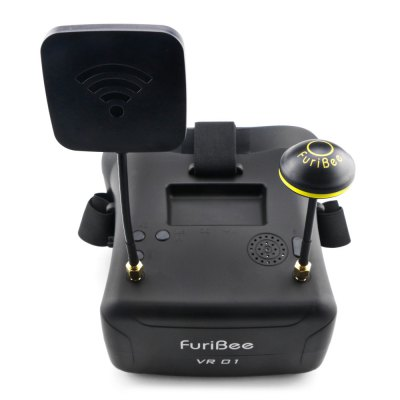 FuriBee VR01 FPV GogglesFPV Goggles &amp; Monitors<br>FuriBee VR01 FPV Goggles<br><br>Antenna: mushroom antenna and planar antenna<br>Battery: 2S 520mAh - 3S 2200mAh ( not included )<br>Brand: FuriBee<br>FPV Equipments: FPV Goggles<br>Package Contents: 1 x Pair of VR01 FPV Goggles, 1 x Mushroom Antenna, 1 x Planar Antenna, 1 x AV Cable, 1 x Power Cable, 1 x English Manual<br>Package size (L x W x H): 26.00 x 18.00 x 12.00 cm / 10.24 x 7.09 x 4.72 inches<br>Package weight: 0.610 kg<br>Product size (L x W x H): 15.50 x 14.40 x 11.30 cm / 6.1 x 5.67 x 4.45 inches<br>Product weight: 0.248 kg<br>Resolution: 480 x 272px<br>Screen size: 4.3 inches<br>Sensitivity: -90dBi<br>Working Time: about 3 hours with 2S 520mAh; more than 18 hours with 3S 2200mAh