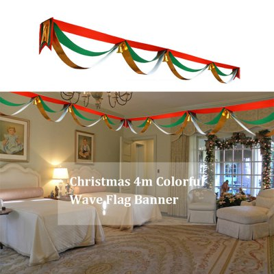 Christmas 4m Colorful Wave Flag Banner with Golden Small Bell