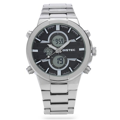 BISTEC 209 Dual Movement Men Digital Quartz WatchMens Watches<br>BISTEC 209 Dual Movement Men Digital Quartz Watch<br><br>Brand: Bistec<br>Watches categories: Male table<br>Watch style: Business<br>Available color: Black,White<br>Movement type: Quartz + digital watch<br>Shape of the dial: Round<br>Display type: Analog-Digital<br>Case material: Stainless Steel<br>Band material: Stainless Steel<br>Clasp type: Sheet folding clasp<br>Special features: Alarm Clock,Date,Day,Luminous,Stopwatch<br>Water resistance : 30 meters<br>Dial size: 5 x 5 x 1.5 cm / 1.97 x 1.97 x 0.59 inches<br>Band size: 22 x 2.2 cm / 8.66 x 0.87 inches<br>Product weight: 0.173 kg<br>Package weight: 0.243 kg<br>Product size (L x W x H): 22.00 x 5.00 x 1.50 cm / 8.66 x 1.97 x 0.59 inches<br>Package size (L x W x H): 8.80 x 8.00 x 5.30 cm / 3.46 x 3.15 x 2.09 inches<br>Package Contents: 1 x BISTEC 209 Dual Movement Men Digital Quartz Watch, 1 x Box