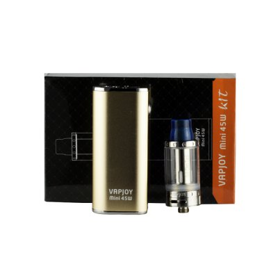 Original VAPJOY Mini 45W Box Mod Kit for E CigaretteMod kits<br>Original VAPJOY Mini 45W Box Mod Kit for E Cigarette<br><br>APV Mod Wattage: 45W<br>APV Mod Wattage Range: 31-50W<br>Atomizer Capacity: 2.0ml<br>Atomizer Resistance: 0.4 ohm<br>Atomizer Type: Tank Atomizer, Clearomizer<br>Battery Capacity: 2600mAh<br>Connection Threading of Atomizer: 510<br>Connection Threading of Battery: 510<br>Material: Aluminum, Stainless Steel, Glass<br>Mod Type: VV/VW Mod<br>Package Contents: 1 x VAPJOY 45W Mini Box Mod, 1 x VAPJOY Sub Ohm Clearomizer, 1 x Resin Drip Tip ( Color by Random ), 1 x Extra 0.4 ohm Coil Head, 1 x Extra Glass Tank, 1 x VAPJOY Band, 1 x USB Cable<br>Package size (L x W x H): 15.40 x 8.20 x 5.60 cm / 6.06 x 3.23 x 2.2 inches<br>Package weight: 0.261 kg<br>Product size (L x W x H): 13.20 x 3.60 x 2.20 cm / 5.2 x 1.42 x 0.87 inches<br>Product weight: 0.135 kg