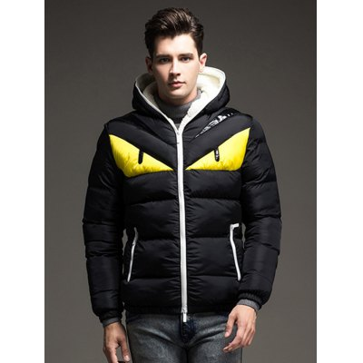 Color Block Angry Eye Hooded Quilted JacketMens Jackets &amp; Coats<br>Color Block Angry Eye Hooded Quilted Jacket<br><br>Closure Type: Zipper<br>Clothes Type: Jackets<br>Collar: Hooded<br>Embellishment: Zippers<br>Materials: Nylon, Polyester<br>Package Content: 1 x Men Hooded Jacket<br>Package Dimension: 40.00 x 30.00 x 8.00 cm / 15.75 x 11.81 x 3.15 inches<br>Package weight: 0.984 kg<br>Pattern Type: Animal<br>Product weight: 0.560 kg<br>Seasons: Autumn,Winter<br>Shirt Length: Regular<br>Size1: 2XL,3XL,L,M,XL<br>Sleeve Length: Long Sleeves<br>Style: Fashion<br>Thickness: Medium thickness