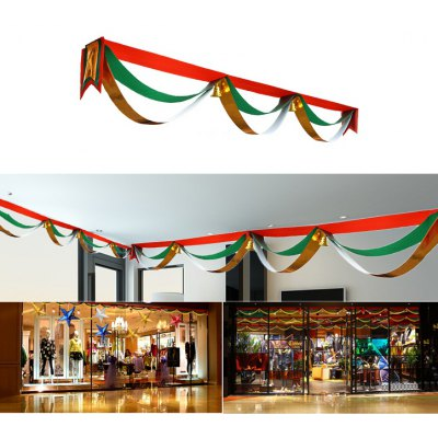 Christmas 3m Colorful Wave Flag Banner with Golden Small Bell