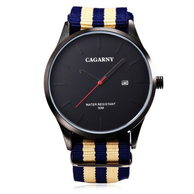 CAGARNY 6865 Unisex Quartz WatchUnisex Watches<br>CAGARNY 6865 Unisex Quartz Watch<br><br>Band material: Nylon<br>Band size: 25 x 2.2 cm / 9.84 x 0.87 inches<br>Brand: Cagaray<br>Case material: Alloy<br>Clasp type: Pin buckle<br>Dial size: 4.5 x 4.5 x 0.8 cm / 1.77 x 1.77 x 0.31 inches<br>Display type: Analog<br>Movement type: Quartz watch<br>Package Contents: 1 x CAGARNY 6865 Unisex Quartz Watch, 1 x Box<br>Package size (L x W x H): 7.60 x 10.20 x 7.50 cm / 2.99 x 4.02 x 2.95 inches<br>Package weight: 0.152 kg<br>People: Female table,Male table<br>Product size (L x W x H): 25.00 x 4.50 x 0.80 cm / 9.84 x 1.77 x 0.31 inches<br>Product weight: 0.055 kg<br>Shape of the dial: Round<br>Special features: Date<br>Watch style: Fashion<br>Water resistance : 30 meters<br>Wearable length: 16.5 - 22.5 cm / 6.5 - 8.86 inches
