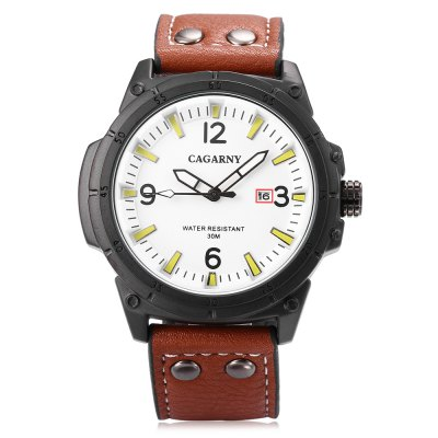 CAGARNY 6853 Male Quartz WatchMens Watches<br>CAGARNY 6853 Male Quartz Watch<br><br>Band material: Leather<br>Band size: 26 x 2.4 cm / 10.24 x 0.94 inches<br>Brand: Cagarny<br>Case material: Alloy<br>Clasp type: Pin buckle<br>Dial size: 5.2 x 5.2 x 1 cm / 2.05 x 2.05 x 0.39 inches<br>Display type: Analog<br>Movement type: Quartz watch<br>Package Contents: 1 x CAGARNY 6853 Male Quartz Watch, 1 x Box<br>Package size (L x W x H): 7.60 x 10.20 x 7.50 cm / 2.99 x 4.02 x 2.95 inches<br>Package weight: 0.178 kg<br>Product size (L x W x H): 26.00 x 5.20 x 1.00 cm / 10.24 x 2.05 x 0.39 inches<br>Product weight: 0.082 kg<br>Shape of the dial: Round<br>Special features: Date, Luminous<br>Watch style: Business<br>Watches categories: Male table<br>Water resistance : 30 meters<br>Wearable length: 18.5 - 23.5 cm / 7.28 - 9.25 inches