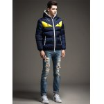 cheap Color Block Angry Eye Hooded Quilted Jacket