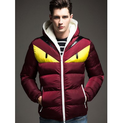 Color Block Angry Eye Hooded Quilted Jacket
