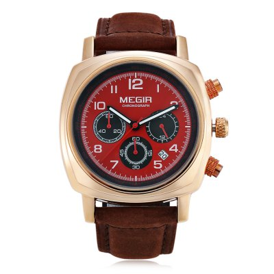 MEGIR 1056 Men Quartz WatchMens Watches<br>MEGIR 1056 Men Quartz Watch<br><br>Available Color: Black,Red,White,Yellow<br>Band material: Genuine Leather<br>Brand: MEGIR<br>Case material: Stainless Steel<br>Clasp type: Pin buckle<br>Display type: Analog<br>Movement type: Quartz watch<br>Package Contents: 1 x MEGIR 1056 Watch<br>Package size (L x W x H): 27.00 x 5.50 x 2.00 cm / 10.63 x 2.17 x 0.79 inches<br>Package weight: 0.127 kg<br>Product size (L x W x H): 26.00 x 4.30 x 1.00 cm / 10.24 x 1.69 x 0.39 inches<br>Product weight: 0.077 kg<br>Shape of the dial: Round<br>Special features: Moving small three stitches, Date<br>The band width: 2.2 cm / 0.87 inches<br>The dial diameter: 4.3 cm / 1.69 inches<br>The dial thickness: 1.0 cm / 0.39 inches<br>Watch style: Fashion<br>Watches categories: Male table<br>Water resistance : 30 meters<br>Wearable length: 17 - 21.5 cm /  6.69 - 8.46 inches