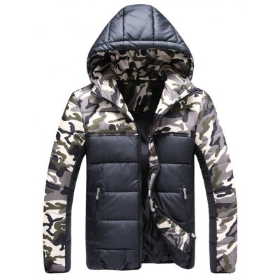 Color Block Camouflage Hooded Quilted Jacket