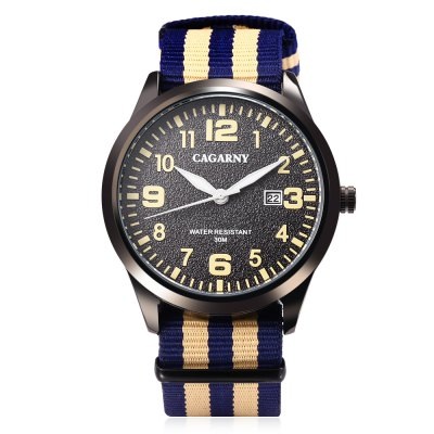 CAGARNY 6859 Unisex Quartz WatchUnisex Watches<br>CAGARNY 6859 Unisex Quartz Watch<br><br>Band material: Nylon<br>Band size: 25.5 x 2.2 cm / 10.04 x 0.87 inches<br>Brand: Cagaray<br>Case material: Alloy<br>Clasp type: Pin buckle<br>Dial size: 4.5 x 4.5 x 1 cm / 1.77 x 1.77 x 0.39 inches<br>Display type: Analog<br>Movement type: Quartz watch<br>Package Contents: 1 x CAGARNY 6859 Unisex Quartz Watch, 1 x Box<br>Package size (L x W x H): 7.60 x 10.20 x 7.50 cm / 2.99 x 4.02 x 2.95 inches<br>Package weight: 0.152 kg<br>People: Female table,Male table<br>Product size (L x W x H): 25.50 x 4.50 x 1.00 cm / 10.04 x 1.77 x 0.39 inches<br>Product weight: 0.056 kg<br>Shape of the dial: Round<br>Special features: Date, Luminous<br>Watch style: Casual<br>Water resistance : 30 meters<br>Wearable length: 16.5 - 23 cm / 6.5 - 9.06 inches